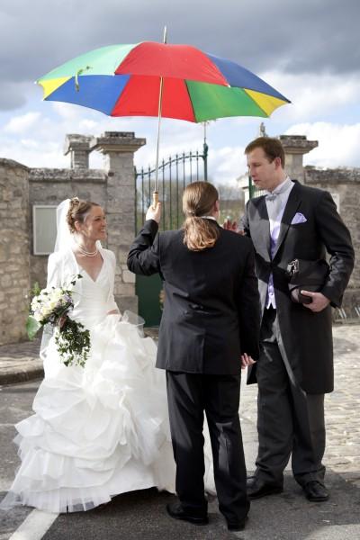Reportage photo mariage, parapluie